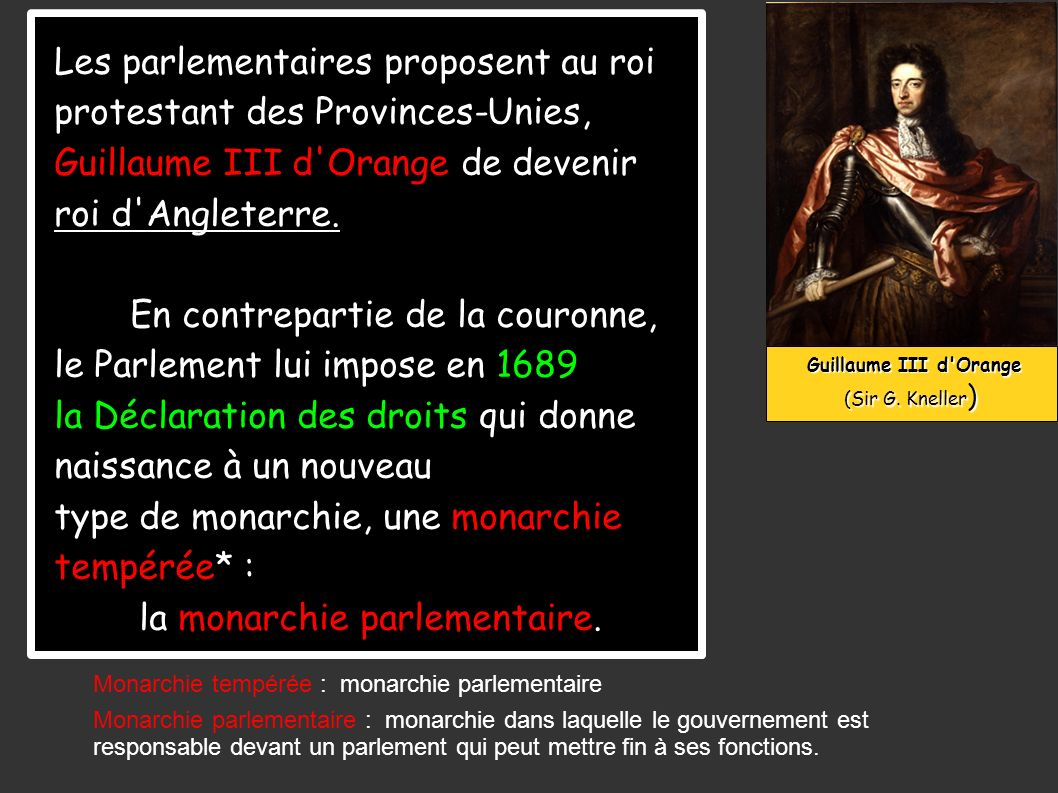 Guillaume III d'Orange Guillaume III d'Orange (Sir G. Kneller ) Les parlementaires proposent au roi protestant des Provinces-Unies, Guillaume III d'Or