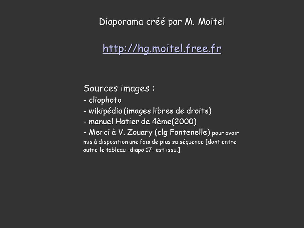 Diaporama créé par M. Moitel http://hg.moitel.free.fr Sources images : - cliophoto - wikipédia (images libres de droits) - manuel Hatier de 4ème(2000)