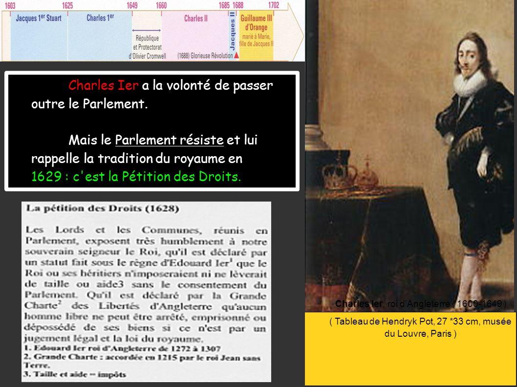 Charles Ier, roi dAngleterre ( 1600-1649 ) ( Tableau de Hendryk Pot, 27 *33 cm, musée du Louvre, Paris ) Charles Ier a la volonté de passer outre le P
