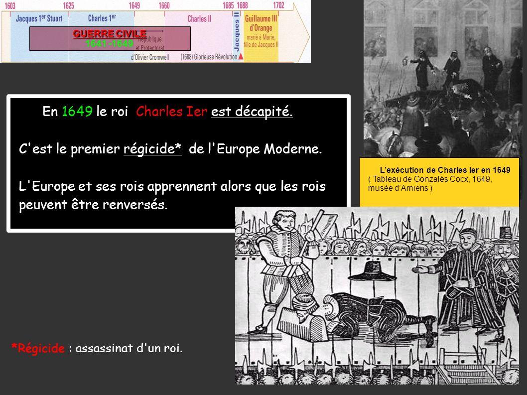 l GUERRE CIVILE 1641 -1649 En 1649 le roi Charles Ier est décapité. C'est le premier régicide* de l'Europe Moderne. L'Europe et ses rois apprennent al