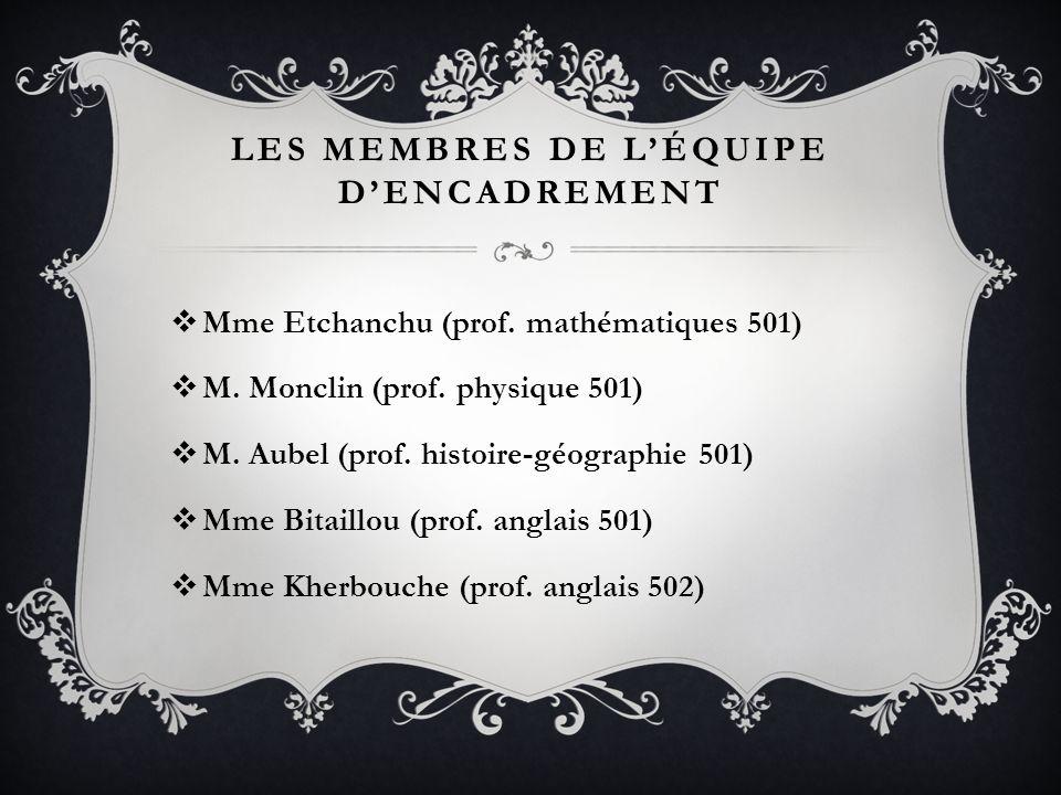 LES MEMBRES DE LÉQUIPE DENCADREMENT Mme Etchanchu (prof. mathématiques 501) M. Monclin (prof. physique 501) M. Aubel (prof. histoire-géographie 501) M
