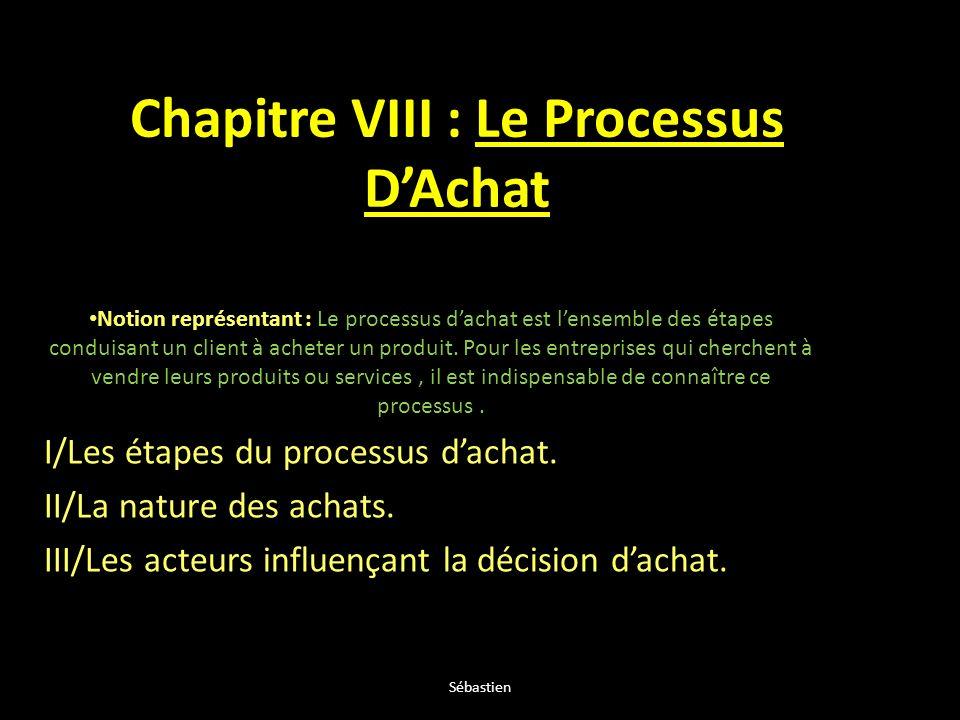 Chapitre VIII : Le Processus DAchat Notion représentant : Le processus dachat est lensemble des étapes conduisant un client à acheter un produit. Pour