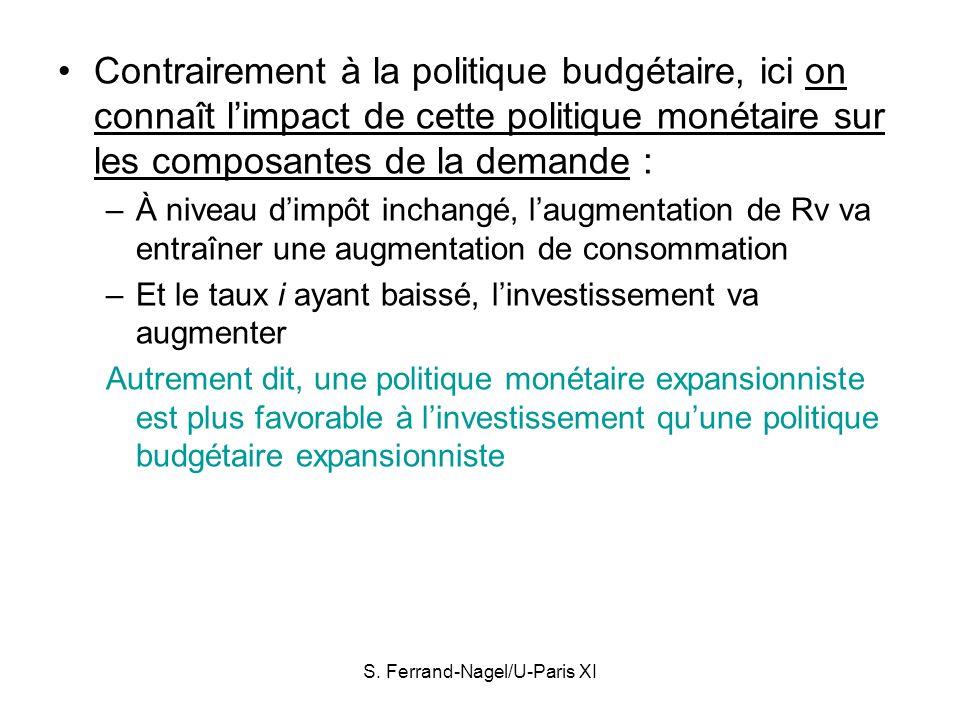 S. Ferrand-Nagel/U-Paris XI Contrairement à la politique budgétaire, ici on connaît limpact de cette politique monétaire sur les composantes de la dem