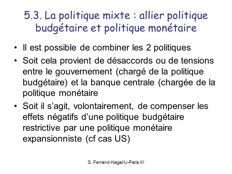 S. Ferrand-Nagel/U-Paris XI 5.3. La politique mixte : allier politique budgétaire et politique monétaire Il est possible de combiner les 2 politiques