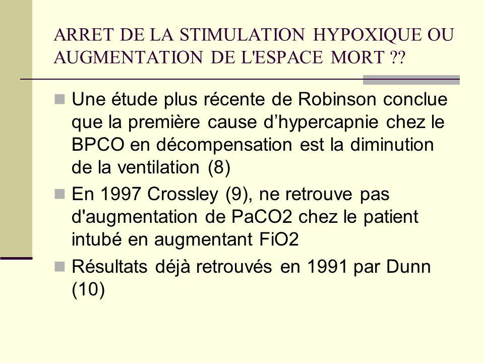ARRET DE LA STIMULATION HYPOXIQUE OU AUGMENTATION DE L'ESPACE MORT ?? Une étude plus récente de Robinson conclue que la première cause dhypercapnie ch