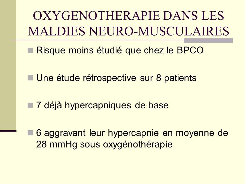 OXYGENOTHERAPIE DANS LES MALDIES NEURO-MUSCULAIRES Risque moins étudié que chez le BPCO Une étude rétrospective sur 8 patients 7 déjà hypercapniques d
