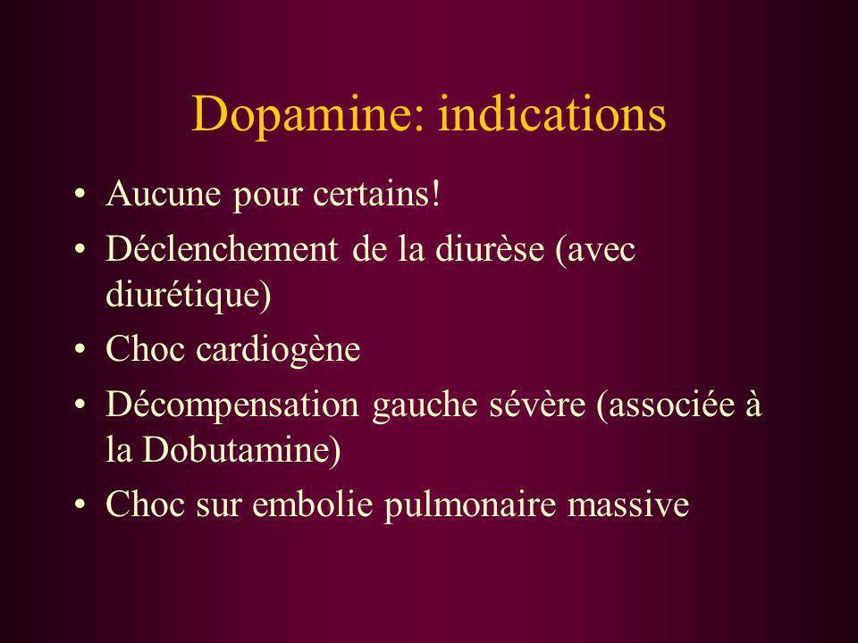 Dopamine: indications Aucune pour certains! Déclenchement de la diurèse (avec diurétique) Choc cardiogène Décompensation gauche sévère (associée à la