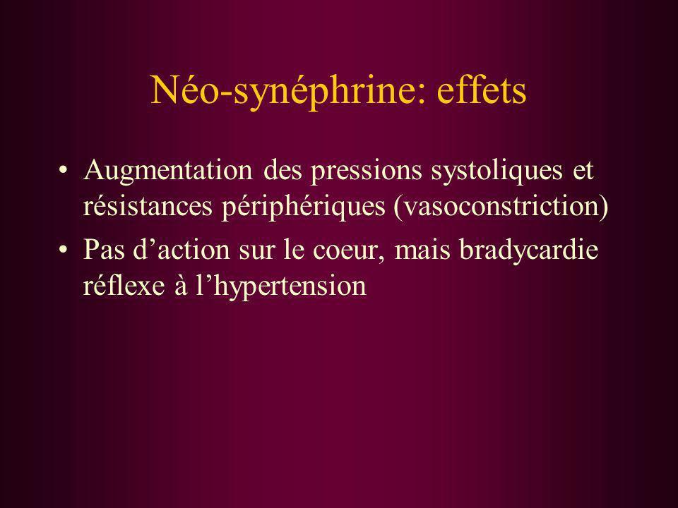 Néo-synéphrine: effets Augmentation des pressions systoliques et résistances périphériques (vasoconstriction) Pas daction sur le coeur, mais bradycard
