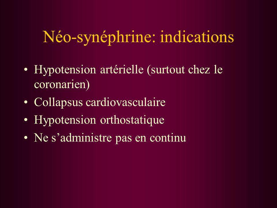 Néo-synéphrine: indications Hypotension artérielle (surtout chez le coronarien) Collapsus cardiovasculaire Hypotension orthostatique Ne sadministre pa