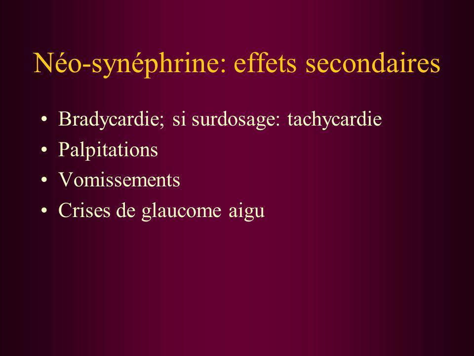 Néo-synéphrine: effets secondaires Bradycardie; si surdosage: tachycardie Palpitations Vomissements Crises de glaucome aigu