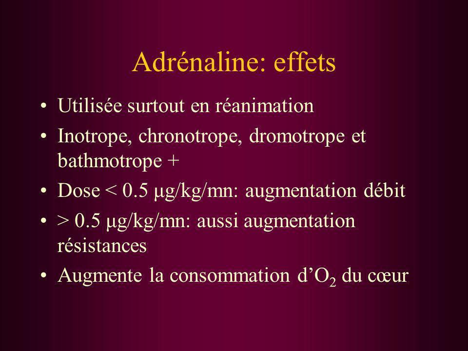 Adrénaline: effets Utilisée surtout en réanimation Inotrope, chronotrope, dromotrope et bathmotrope + Dose < 0.5 μg/kg/mn: augmentation débit > 0.5 μg