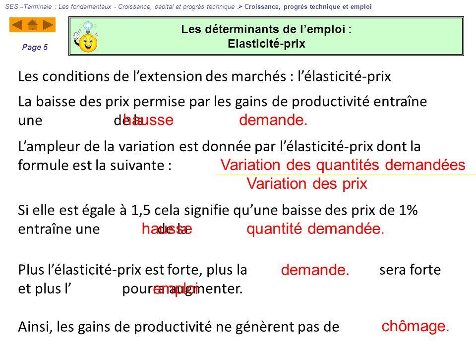 Les déterminants de lemploi : Elasticité-prix SES –Terminale : Les fondamentaux - Croissance, capital et progrès technique Croissance, progrès techniq
