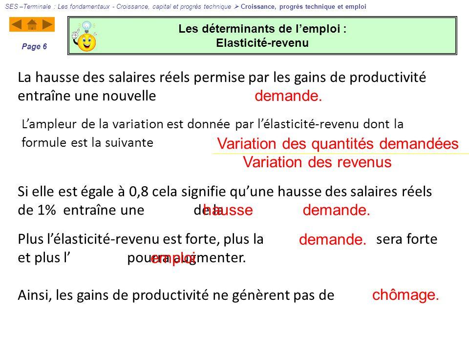 Les déterminants de lemploi : Elasticité-revenu SES –Terminale : Les fondamentaux - Croissance, capital et progrès technique Croissance, progrès techn
