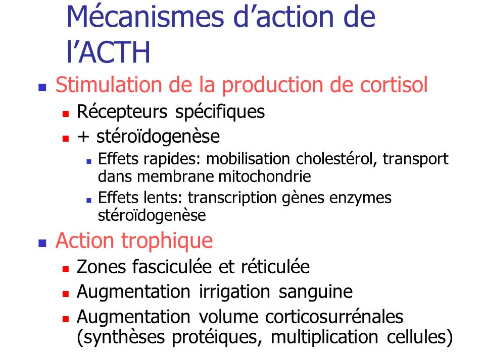 Mécanismes daction de lACTH Stimulation de la production de cortisol Récepteurs spécifiques + stéroïdogenèse Effets rapides: mobilisation cholestérol,