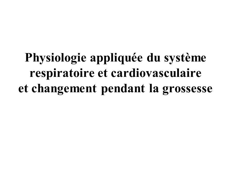 Physiologie appliquée du système respiratoire et cardiovasculaire et changement pendant la grossesse