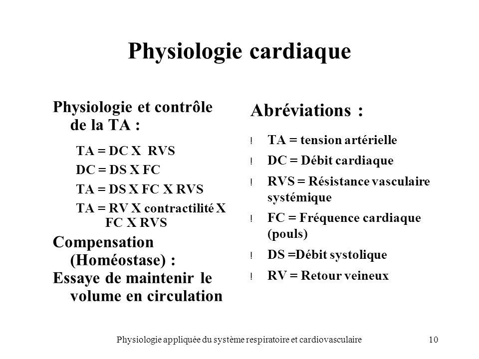 10Physiologie appliquée du système respiratoire et cardiovasculaire Physiologie cardiaque Physiologie et contrôle de la TA : TA = DC X RVS DC = DS X F