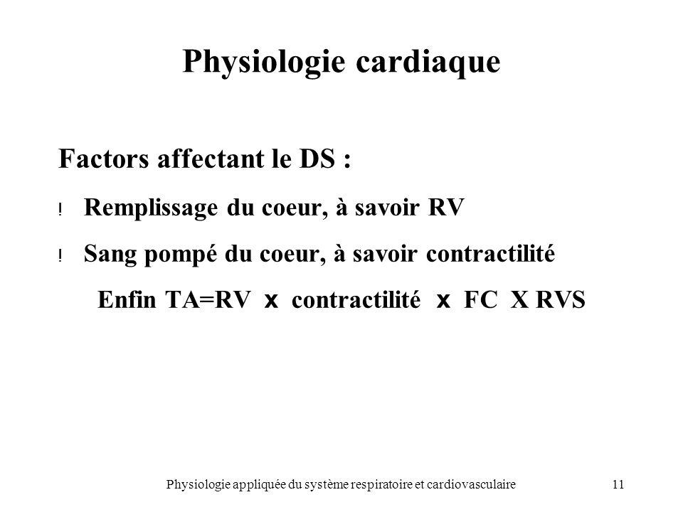 11Physiologie appliquée du système respiratoire et cardiovasculaire Physiologie cardiaque Factors affectant le DS : ! Remplissage du coeur, à savoir R
