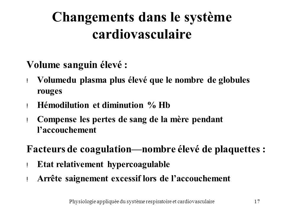 17Physiologie appliquée du système respiratoire et cardiovasculaire Changements dans le système cardiovasculaire Volume sanguin élevé : ! Volumedu pla