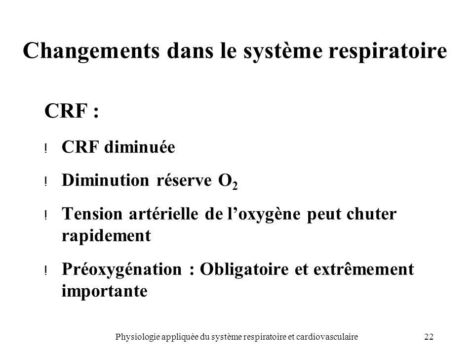 22Physiologie appliquée du système respiratoire et cardiovasculaire Changements dans le système respiratoire CRF : ! CRF diminuée ! Diminution réserve