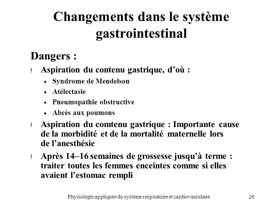26Physiologie appliquée du système respiratoire et cardiovasculaire Changements dans le système gastrointestinal Dangers : ! Aspiration du contenu gas