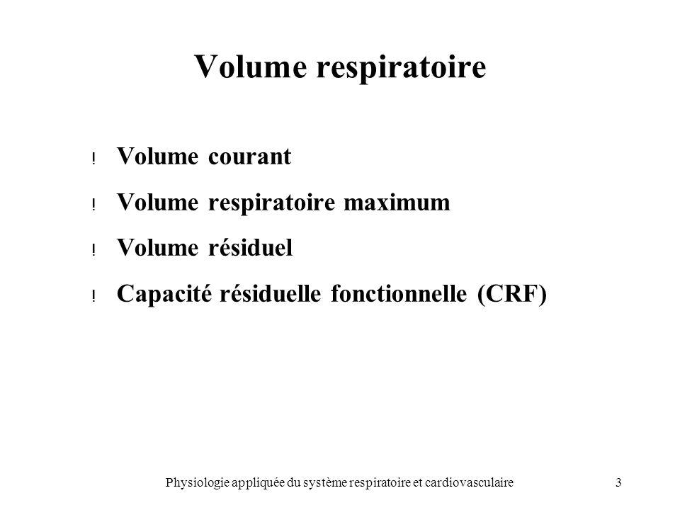 3Physiologie appliquée du système respiratoire et cardiovasculaire Volume respiratoire ! Volume courant ! Volume respiratoire maximum ! Volume résidue