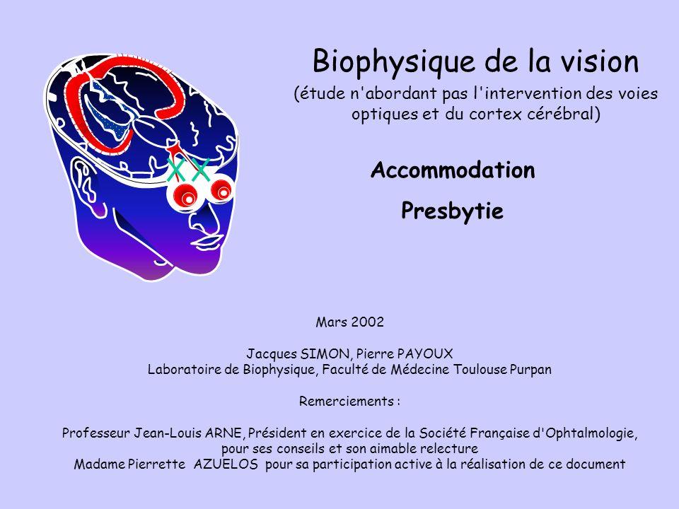 Accommodation Presbytie Mars 2002 Jacques SIMON, Pierre PAYOUX Laboratoire de Biophysique, Faculté de Médecine Toulouse Purpan Remerciements : Profess