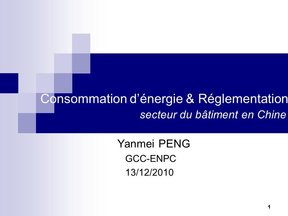 1 Consommation dénergie & Réglementation secteur du bâtiment en Chine Yanmei PENG GCC-ENPC 13/12/2010