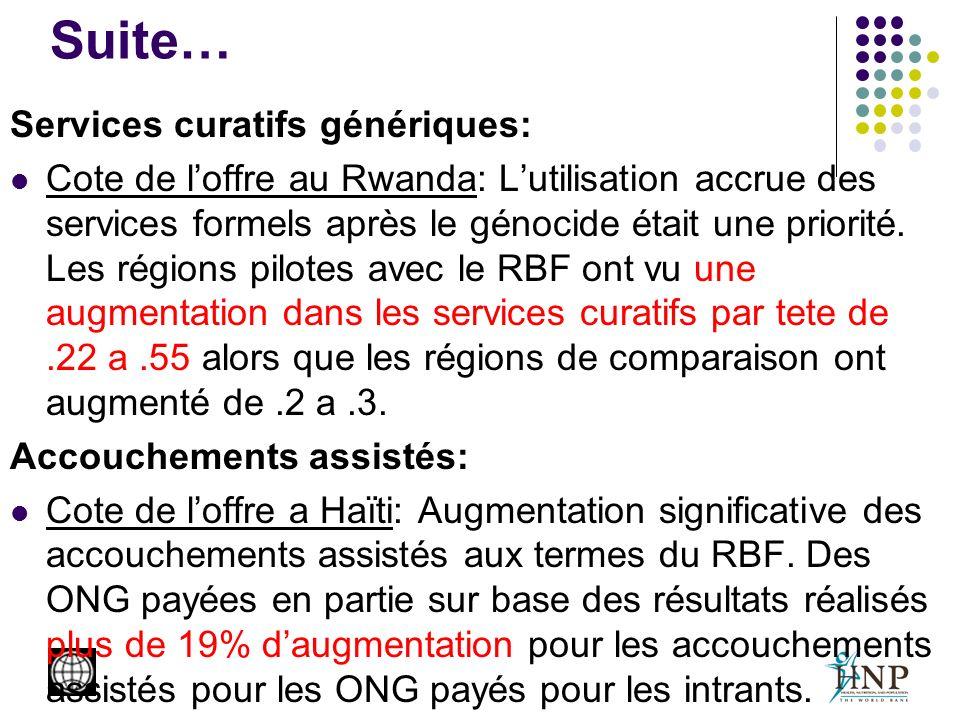 Suite… Services curatifs génériques: Cote de loffre au Rwanda: Lutilisation accrue des services formels après le génocide était une priorité.