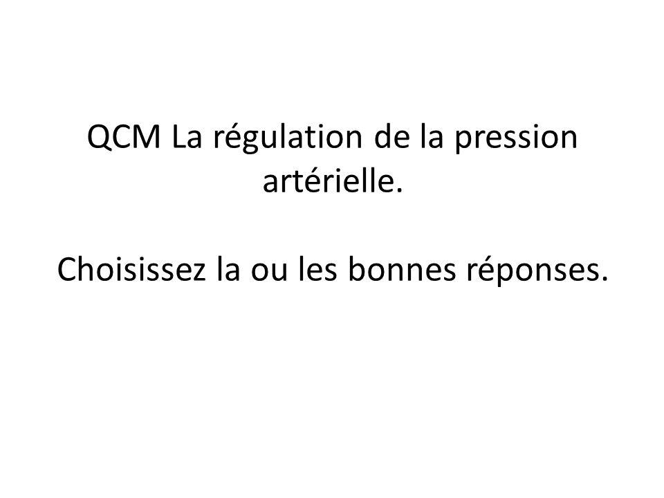 QCM La régulation de la pression artérielle. Choisissez la ou les bonnes réponses.