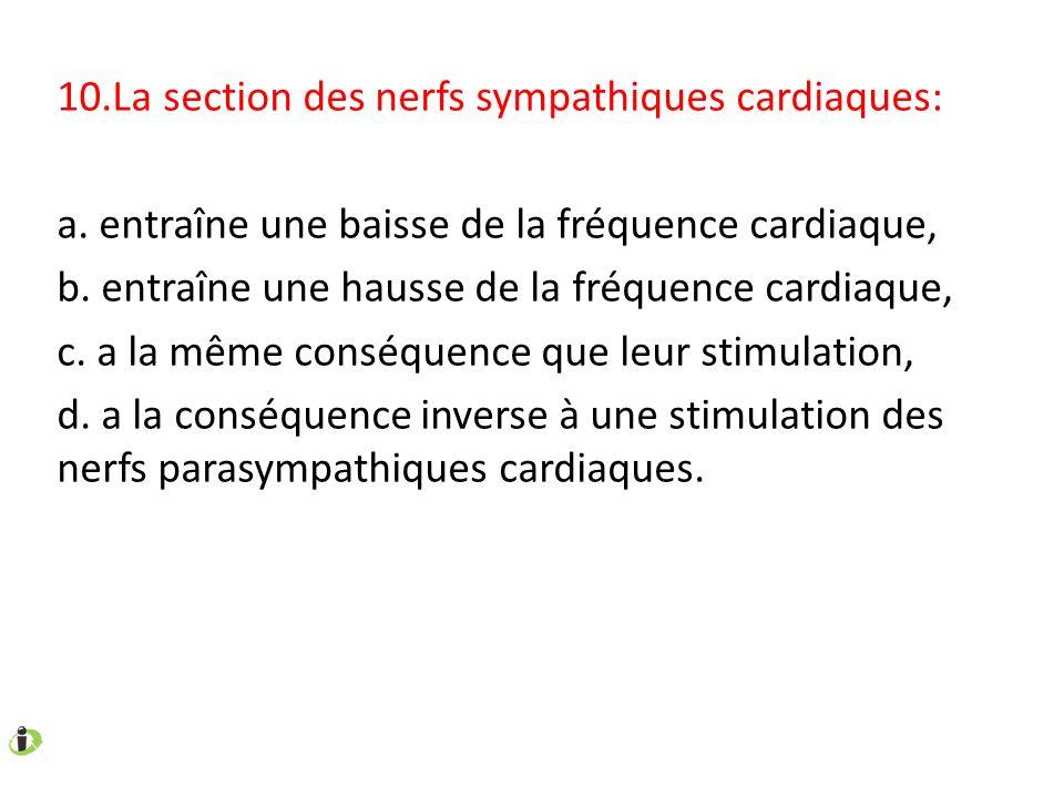 10.La section des nerfs sympathiques cardiaques: a. entraîne une baisse de la fréquence cardiaque, b. entraîne une hausse de la fréquence cardiaque, c