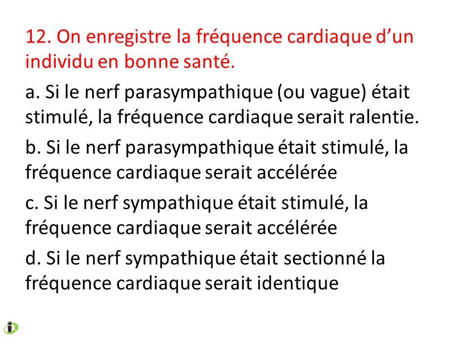 12. On enregistre la fréquence cardiaque dun individu en bonne santé. a. Si le nerf parasympathique (ou vague) était stimulé, la fréquence cardiaque s