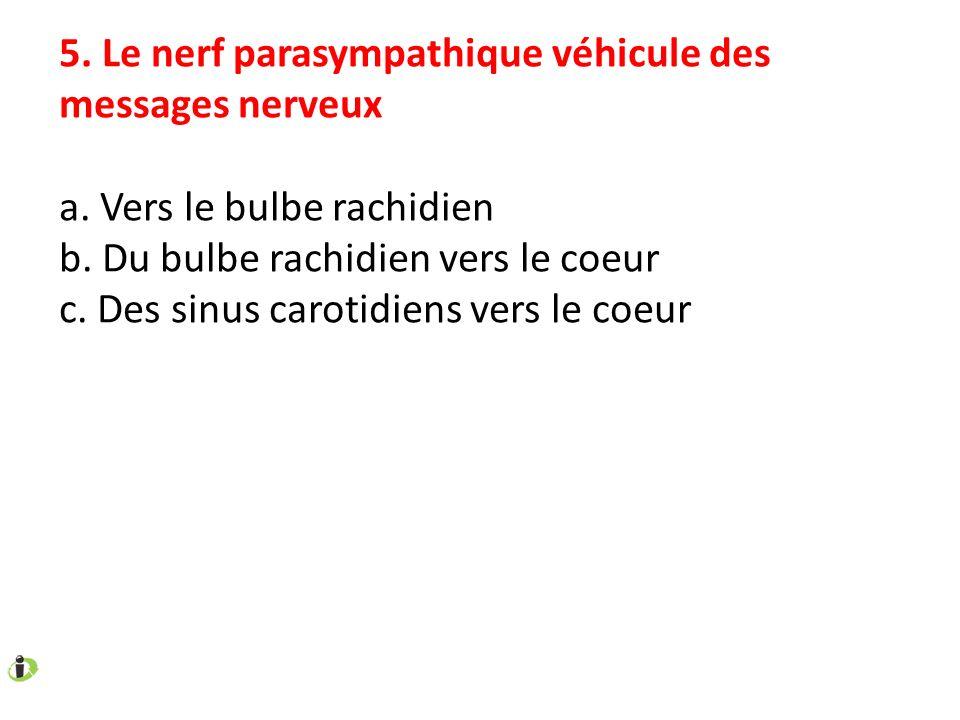 5. Le nerf parasympathique véhicule des messages nerveux a. Vers le bulbe rachidien b. Du bulbe rachidien vers le coeur c. Des sinus carotidiens vers