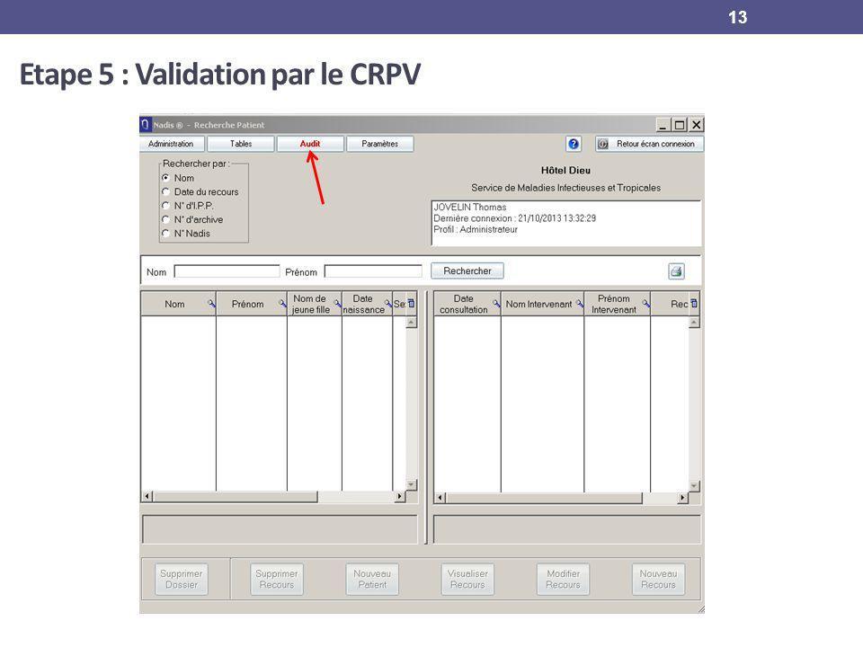 13 Etape 5 : Validation par le CRPV