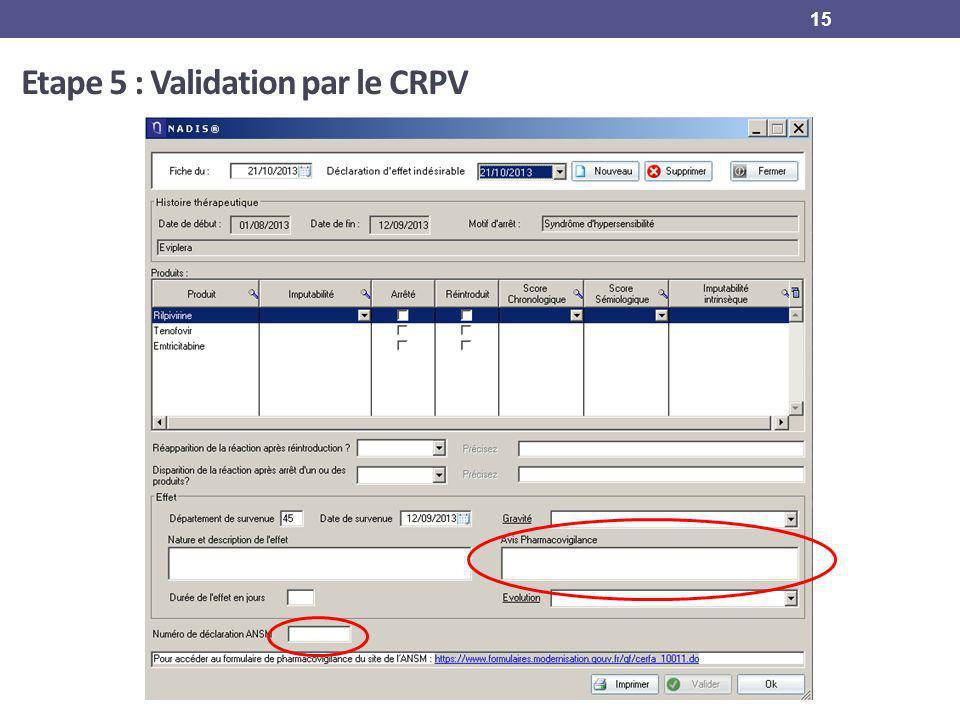 15 Etape 5 : Validation par le CRPV