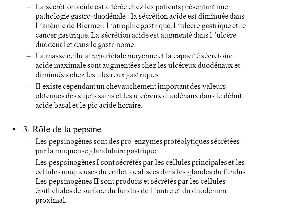 –La sécrétion acide est altérée chez les patients présentant une pathologie gastro-duodénale : la sécrétion acide est diminuée dans l anémie de Bierme