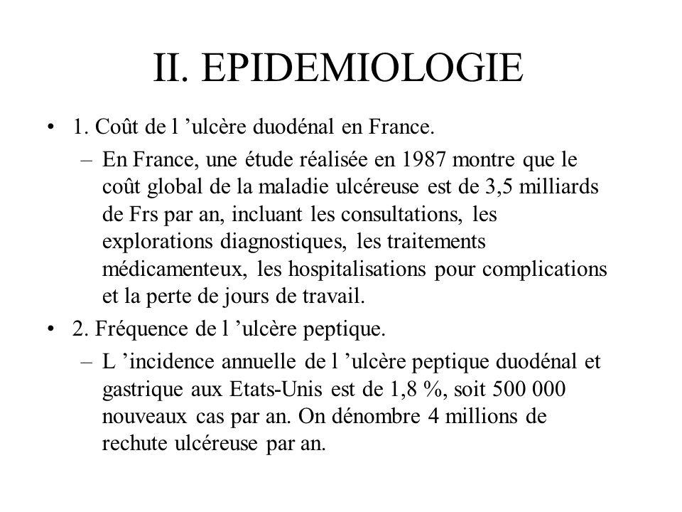 II. EPIDEMIOLOGIE 1. Coût de l ulcère duodénal en France. –En France, une étude réalisée en 1987 montre que le coût global de la maladie ulcéreuse est