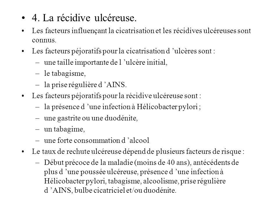 4. La récidive ulcéreuse. Les facteurs influençant la cicatrisation et les récidives ulcéreuses sont connus. Les facteurs péjoratifs pour la cicatrisa