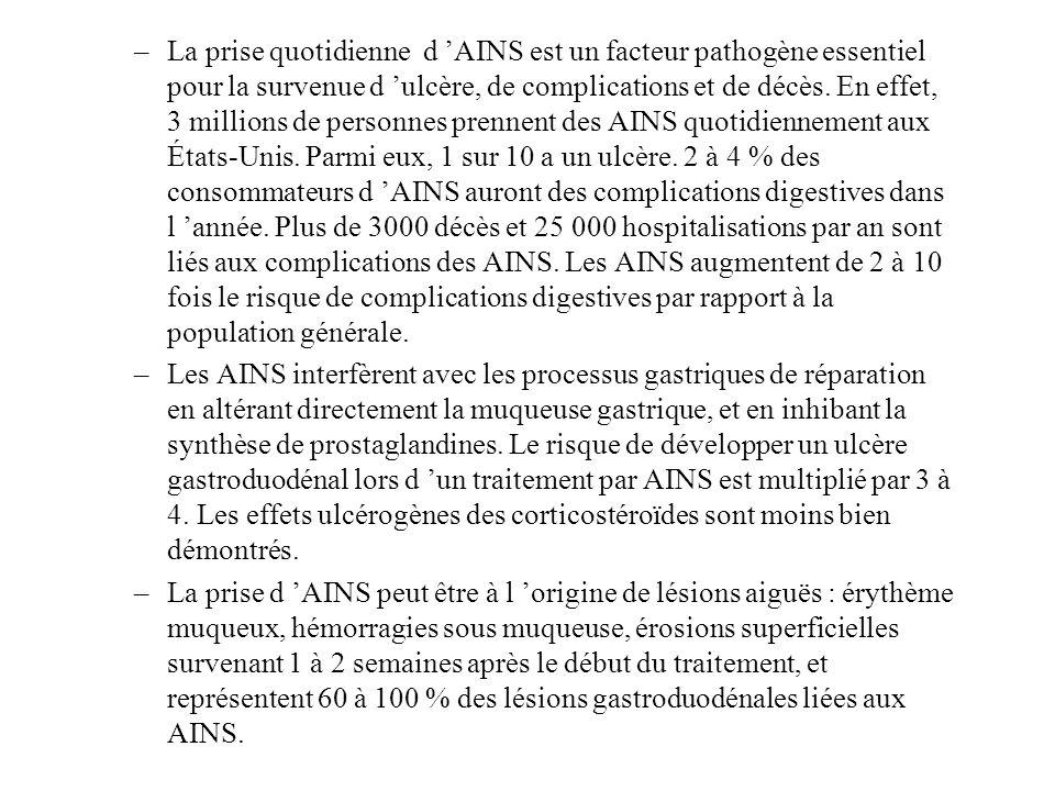 –La prise quotidienne d AINS est un facteur pathogène essentiel pour la survenue d ulcère, de complications et de décès. En effet, 3 millions de perso