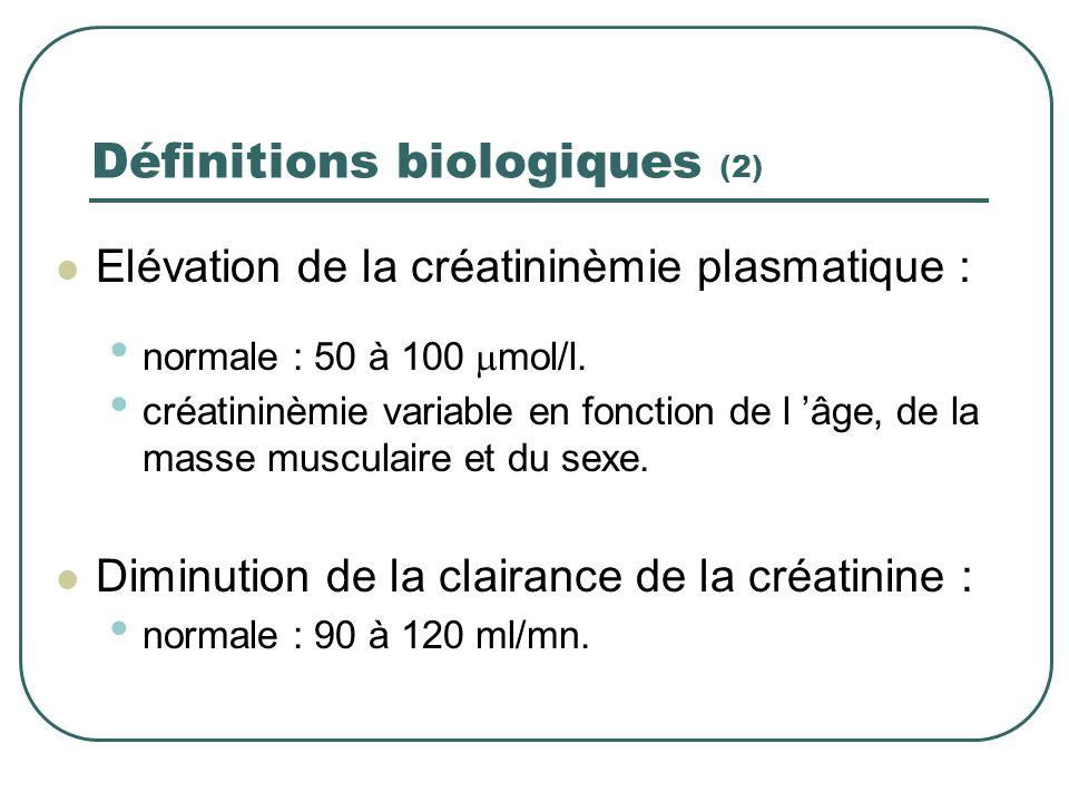 Définitions biologiques (1) Pas de définitions biologiques officielles. 32 définitions différentes dans la littérature - niveau de créatinine et/ou du