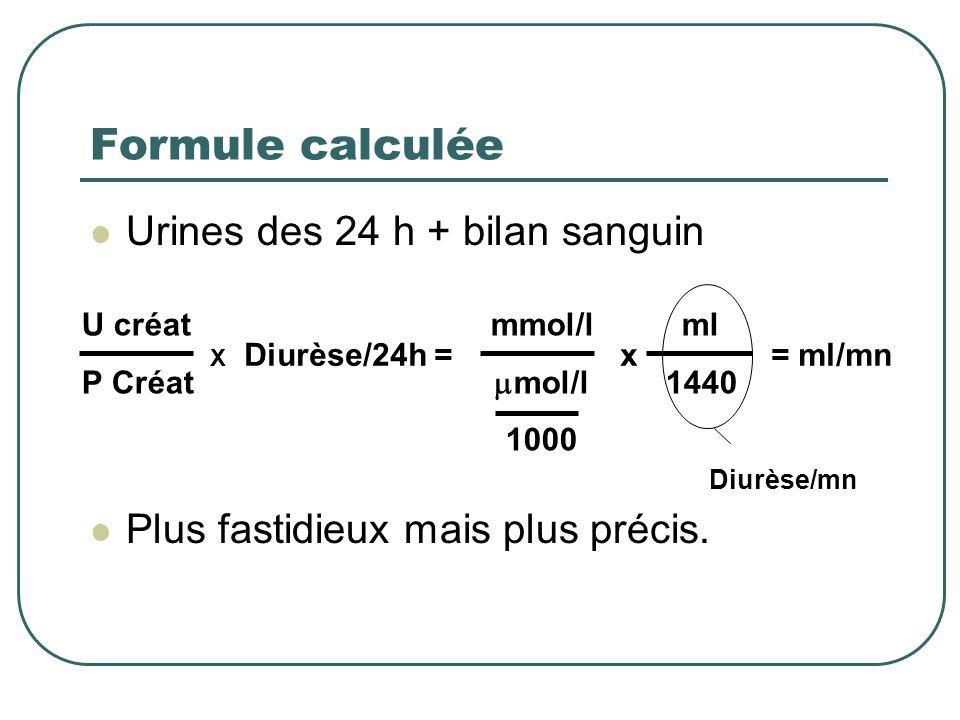 Formule de Cockcroft-Gault Cl (mn/ml) = C° x (140- âge) x Poids (Kg) Créat ( mol/l) C° = 1.08 (Femme) = 1.25 (Homme) Sujet en bonne santé