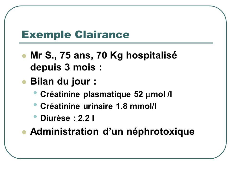Formule calculée Urines des 24 h + bilan sanguin Plus fastidieux mais plus précis. U créat mmol/l ml P Créat mol/l 1440 1000 X Diurèse/24h = x = ml/mn