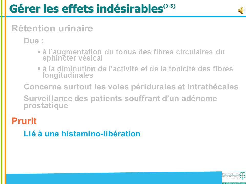 Gérer les effets indésirables (3-5) Rétention urinaire Due : à laugmentation du tonus des fibres circulaires du sphincter vésical à la diminution de l