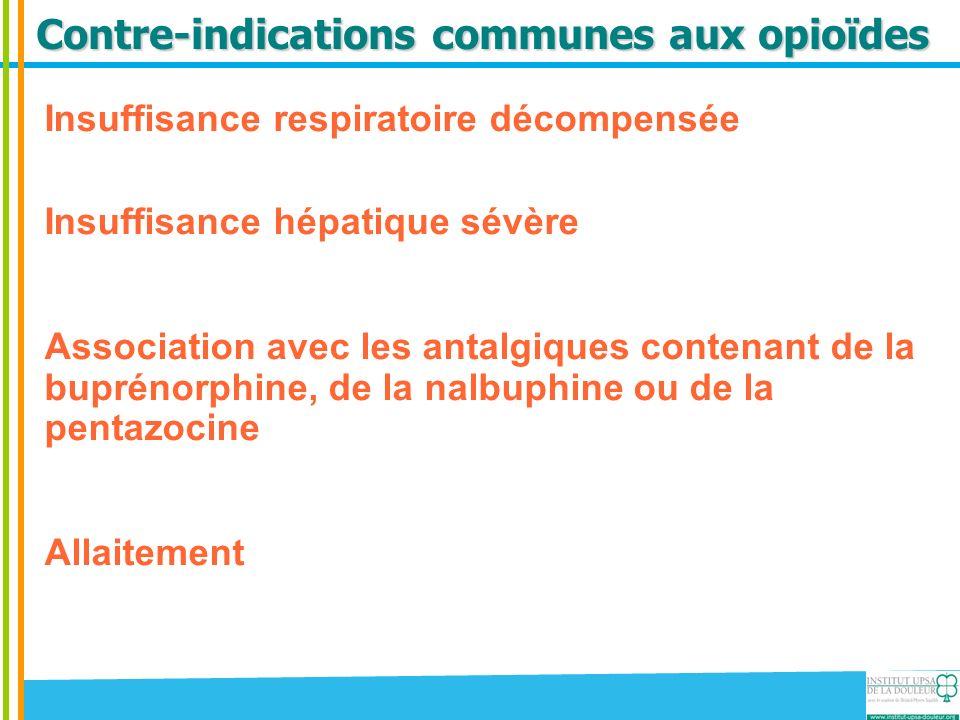 Contre-indications communes aux opioïdes Insuffisance respiratoire décompensée Insuffisance hépatique sévère Association avec les antalgiques contenan