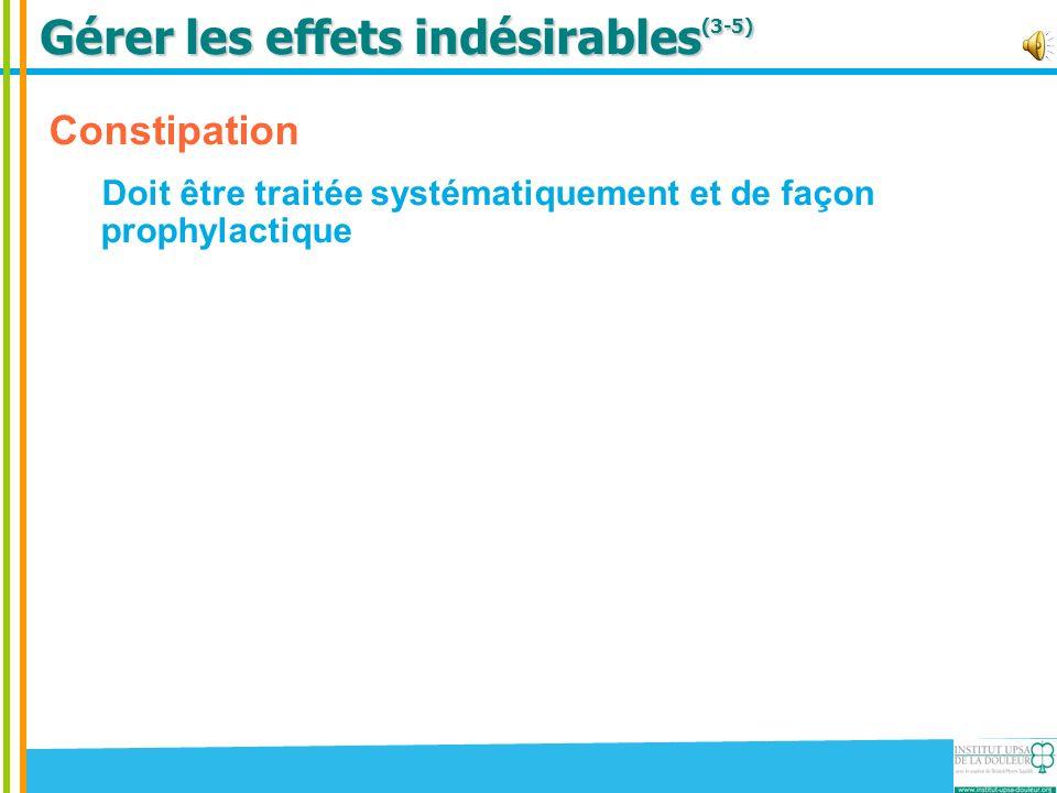 Gérer les effets indésirables (3-5) Constipation Doit être traitée systématiquement et de façon prophylactique Nausées / vomissements Surtout en début de traitement (+/- 1/3 des patients)