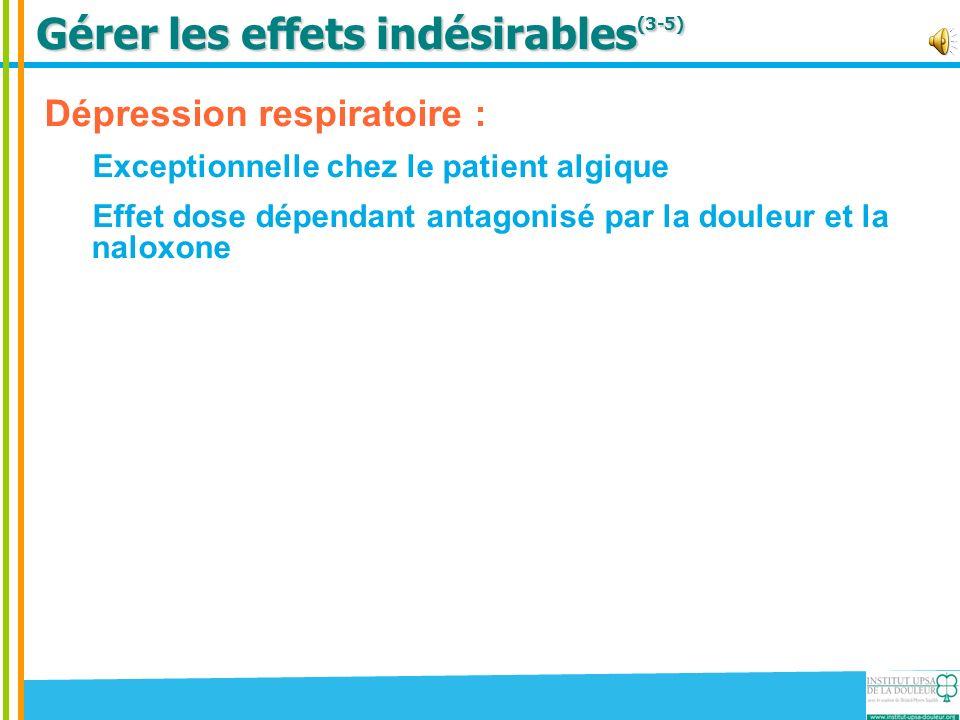Gérer les effets indésirables (3-5) Dépression respiratoire : Exceptionnelle chez le patient algique Effet dose dépendant antagonisé par la douleur et la naloxone Confusion et/ou délire : Effet rare et passager Eliminer les autres causes possibles