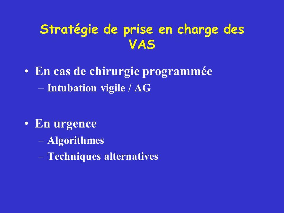 Stratégie de prise en charge des VAS En cas de chirurgie programmée –Intubation vigile / AG En urgence –Algorithmes –Techniques alternatives
