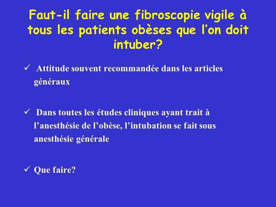 Faut-il faire une fibroscopie vigile à tous les patients obèses que lon doit intuber? Attitude souvent recommandée dans les articles généraux Dans tou