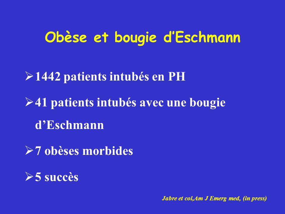 Obèse et bougie dEschmann 1442 patients intubés en PH 41 patients intubés avec une bougie dEschmann 7 obèses morbides 5 succès Jabre et col,Am J Emerg