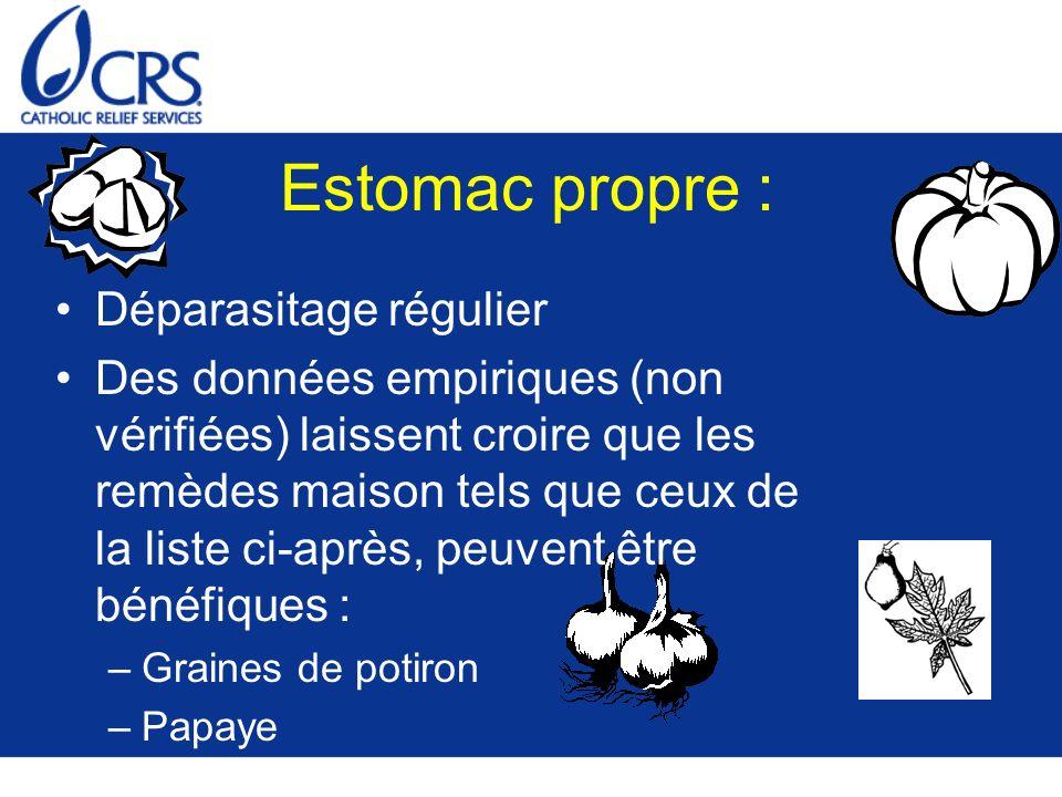 Estomac propre : Déparasitage régulier Des données empiriques (non vérifiées) laissent croire que les remèdes maison tels que ceux de la liste ci-après, peuvent être bénéfiques : –Graines de potiron –Papaye –Ail