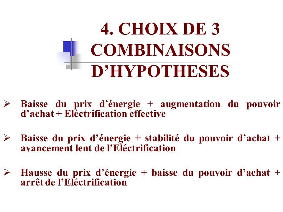 4. CHOIX DE 3 COMBINAISONS DHYPOTHESES Baisse du prix dénergie + augmentation du pouvoir dachat + Eléctrification effective Baisse du prix dénergie +